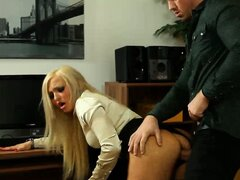 Clothed glamour blonde has sex