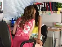 Hot schoolgirls Tarra and Laura kisses while doing their homework