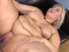 Unbelievably fat blonde Mellanie Gold fucks a guy and gets a creampie