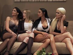 Impressive babes in naughty group action