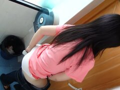 A cute Asian chick really needs to pee.