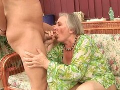 mature broad gets a load of cum blasted onto her face