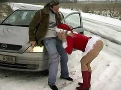 Super hot Christmas slut fucked in the snow