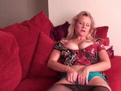 Nasty blonde mature plays with her cunt for you