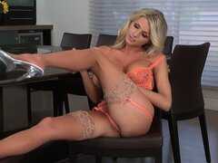 Hot blonde MILF explores a pussy she knows so well with her fingers