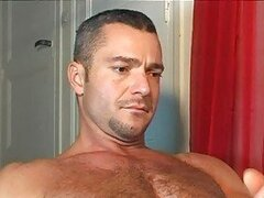 Hung handsome bear got a nice handjob from his lover