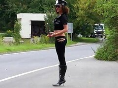 Seductive Law Police Lady Gives A Mean Blowjob Outdoors