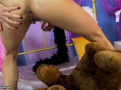 Good girl Nikky Thorne gets her teddy bear to fuck her little bunghole