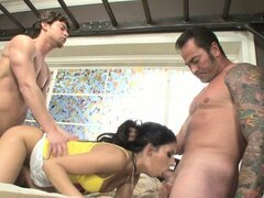 Dad helps his son take care of this horny brunette in a family threesome