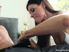 Mighty princess India Summer poses in her sexy, lacy bra and panties and makes his dick hard