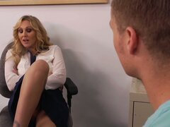 Stunning teacher Julia Ann gives an oral exam to her student