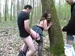 Taken to the woods for a gangbang