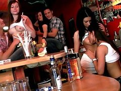 Horny Lesbian Girlfriends Kissing and Licking Pussy in the Disco