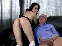 Horny brunette babe fucking old guy and really loves it