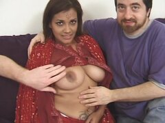 Indian with big tits and tatts receives cumshot
