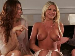Three gorgeous Playboy models make hot erotic show