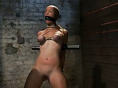 Audrey had her breast bound & huge mouth properly gagged and made to cum