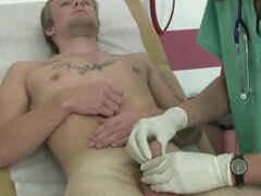 Lovely doctor masturbating dick