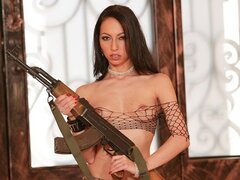 Veronica Jett the smoking hot Euro babe has her poon and her pooper widened by a big dick