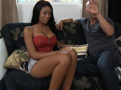 A lush brown beauty gets herself a white man and tries his cock in her holes