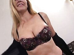 Blonde MILF is fucked by two guys. Casting for erotic movie