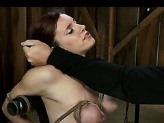 Amazing BDSM scene with brutal bondage and orgasms of three bound together girls!