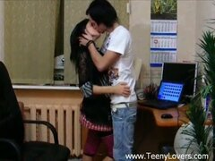 Sweet teen lovers fucking to relieve stress