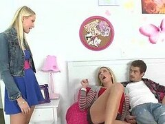 Two Hot Blondes Share A Big White Throbbing Cock