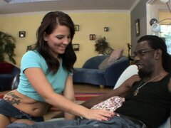 Attractive brunette Casey seduces her black neighbor in order to satisfy her needs
