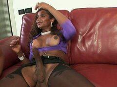 Ebony Tranny Delivers Cock To Dude