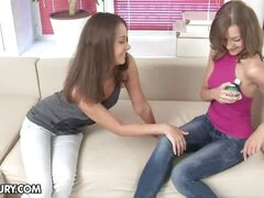 Two pretty lesbians take turns taking a dildo in both of their sex holes