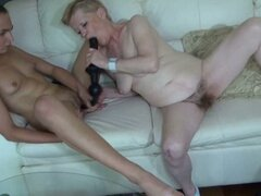Hairy old lady & young brunette lesbian dildo dip