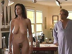 Older hottie Mimi Rogers gets naked and happily shows her nice cans and her lovely, hairy haven