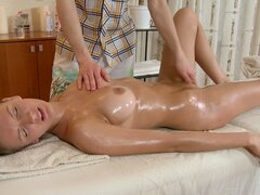 Oiled body of pleasing gal nastily drilled