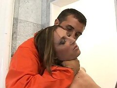 Horny Officer Devon Lee Gags On A Convict's Huge Cock