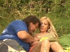 Amazing blonde babe gets fucked in the forest by her guide