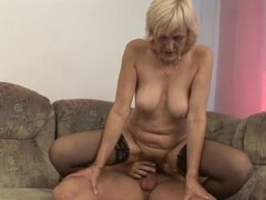 Granny foreplay and shaved pussy hardcore