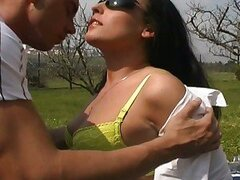Pussy gets rammed in an outdoor sex