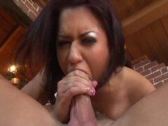 Horny bigtitty brunette spreads her pussy, plays with it and gets fucked hard