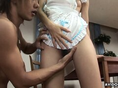 The sexy Asian lady gets banged deep in various positions and screams with pleasure