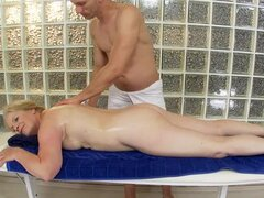 Blonde granny Gabi has sex with a masseur and gets facialed
