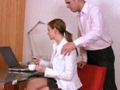 Tarra White hardcore office fucking and cum drinking