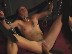 Slave girl gets chained up and fist fucked