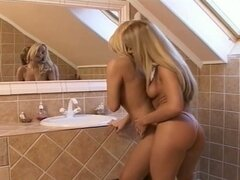 Hot blonde lesbian hotties pussy fun in bathroom
