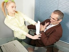 Hot blonde schoolgirl gets dirtily tricked by her horny old teacher and brutally fucked in exchange for better marks