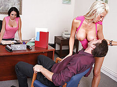 Mr. Ash, a workers rights employee is talking to company manager, Holly West about a young lady who feels she has been discriminated against because of her petite breasts. Holly calls in Tanya to show Jordan what the company is all about. Jordan quickly f