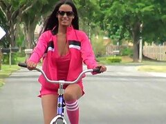 Hot Ebony Uses Her Bicycle to Masturbate Outdoors