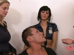 Three police women strip, wank and fuck a prisoner to get him to talk