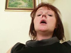 Horny red haired momma solo pussy fun in classroom