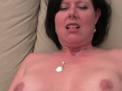 Older mom with big tits and hairy pussy gets finger fucked